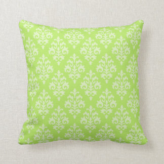 Pretty Damask Lime Green Throw Pillow