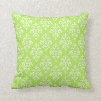 Pretty Damask Lime Green Throw Pillow Throw Cushion