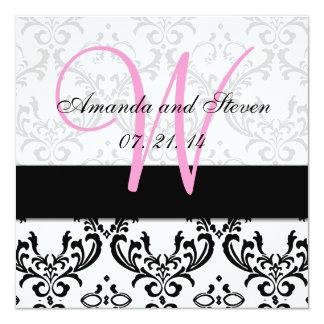Pretty Damask Pink Monogram Wedding Invitation