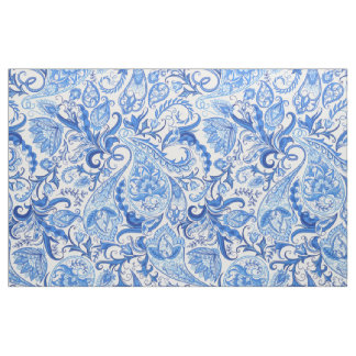 Pretty Dark And Light Blue Floral Paisley Pattern Fabric