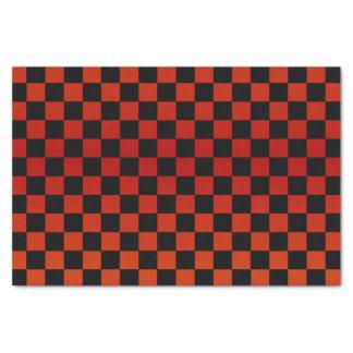 Pretty Dark Red and Black Checks Tissue Paper