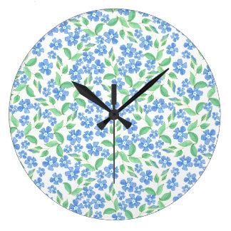 Pretty Ditsy Blue Green White Periwinkle Flowers Clocks