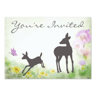 Pretty Doe and Fawn Deer Baby Shower Invitation