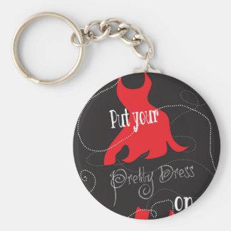 Pretty Dress Red & Black Design Basic Round Button Key Ring