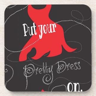 Pretty Dress Red & Black Design Beverage Coasters