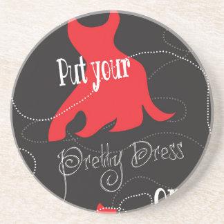 Pretty Dress Red & Black Design Drink Coasters