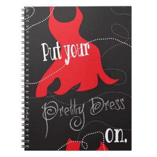Pretty Dress Red & Black Design Notebook