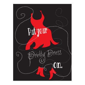 Pretty Dress Red & Black Design Postcard