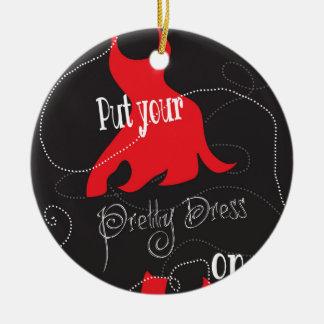 Pretty Dress Red & Black Design Round Ceramic Decoration