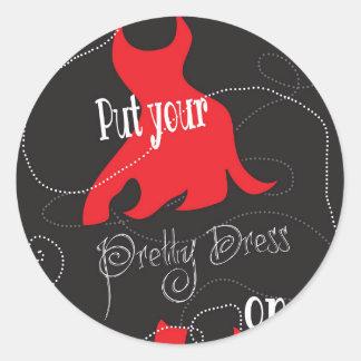 Pretty Dress Red & Black Design Round Sticker
