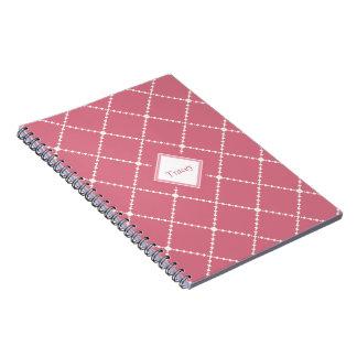 Pretty dusty pink white diamond pattern add name spiral notebook