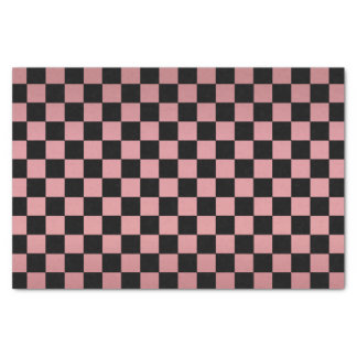 Pretty Dusty Rose and Black Checks Tissue Paper
