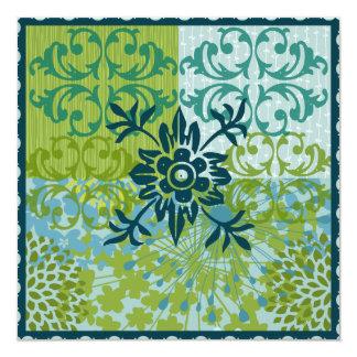 Pretty Elegant Blue Green Floral Damask Pattern 13 Cm X 13 Cm Square Invitation Card