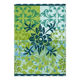 Pretty Elegant Blue Green Floral Damask Pattern 13 Cm X 18 Cm Invitation Card