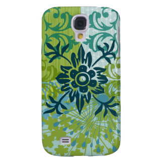 Pretty Elegant Blue Green Floral Damask Pattern Samsung Galaxy S4 Cover