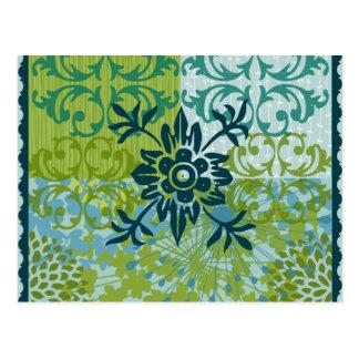 Pretty Elegant Blue Green Floral Damask Pattern Postcard