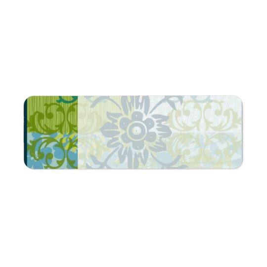Pretty Elegant Blue Green Floral Damask Pattern Return Address Label