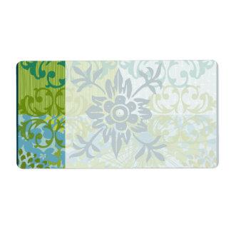 Pretty Elegant Blue Green Floral Damask Pattern Shipping Label