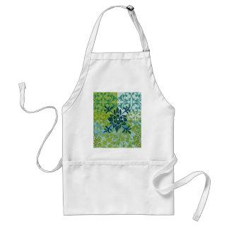 Pretty Elegant Blue Green Floral Damask Pattern Standard Apron