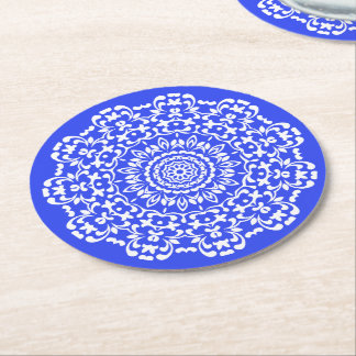 Pretty Elegant Blue White Lacy Patterned Round Paper Coaster