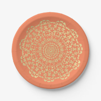 Pretty Elegant Gold Coral Lacy Patterned Paper Plate