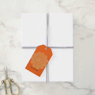 Pretty Elegant Gold Orange Brown Lacy Patterned Gift Tags