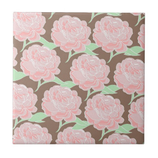 Pretty Elegant Pink Tan Flowers Floral Pattern Small Square Tile