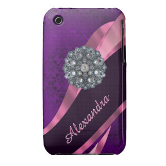 Pretty elegant purple personalized damask pattern iPhone 3 Case-Mate cases