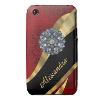 Pretty elegant red damask pattern personalized iPhone 3 Case-Mate cases