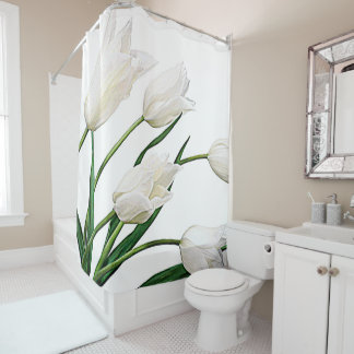 Pretty Elegant White Dutch Tulips Flowers Shower Curtain
