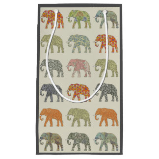 Pretty Elephant Pattern Colorful Small Gift Bag