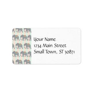 Pretty Elephants Coral Peach Mint Green Striped Address Label
