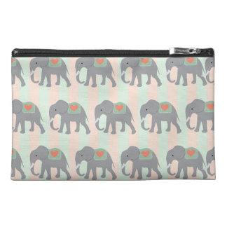Pretty Elephants Coral Peach Mint Green Striped Travel Accessory Bags