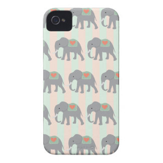Pretty Elephants Coral Peach Mint Green Striped iPhone 4 Cover
