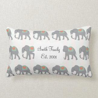 Pretty Elephants Coral Peach Mint Green Striped Pillows