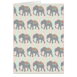 Pretty Elephants Coral Peach Mint Green Striped Greeting Card