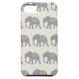 Pretty Elephants Coral Peach Mint Green Striped iPhone 5 Case