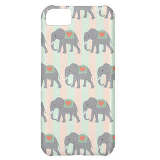 Pretty Elephants Coral Peach Mint Green Striped iPhone 5C Case