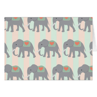 Pretty Elephants Coral Peach Mint Green Striped Note Card