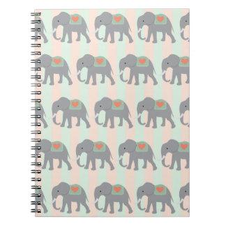 Pretty Elephants Coral Peach Mint Green Striped Spiral Notebook
