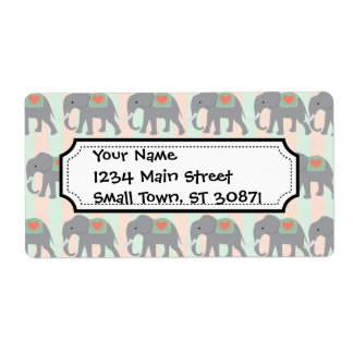 Pretty Elephants Coral Peach Mint Green Striped Shipping Label