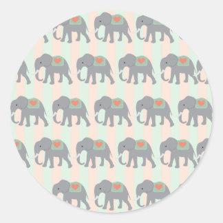 Pretty Elephants Coral Peach Mint Green Striped Round Sticker
