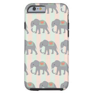 Pretty Elephants Coral Peach Mint Green Striped Tough iPhone 6 Case