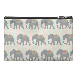 Pretty Elephants Coral Peach Mint Green Striped Travel Accessory Bags