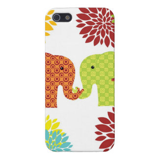 Pretty Elephants in Love Holding Trunks Flowers iPhone 5 Covers