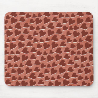Pretty Embedded Red Hearts Pattern Pink Mouse Pad