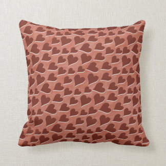 Pretty Embedded Red Hearts Pattern Pink Throw Cushions