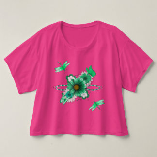 Pretty Emerald Green Floral and Dragonflies T-Shirt