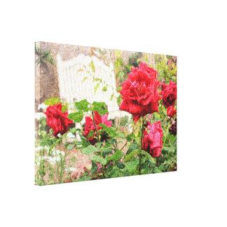 Pretty English Roses Red Flower White Bench Garden Canvas Print