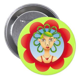 Pretty exotic Hairdo 7.5 Cm Round Badge
